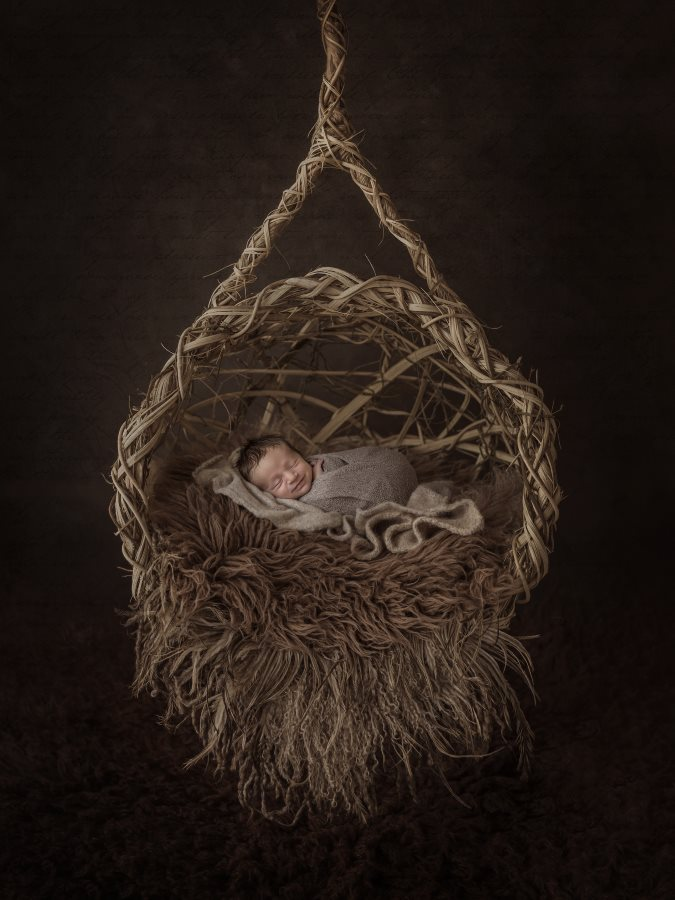 Baby in a Hanging Basket, by Natalie Howe, Newborn Photographer of the Year 2016